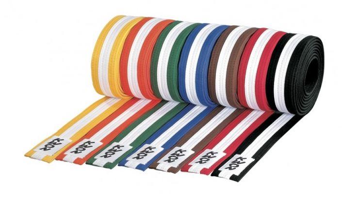Monbælte 4 cm - Farvet med hvid streg - Kvalitets bælte - Farvet med gennemgående hvid streg 100% bomuld Kan skaffes fra 200cm på bestilling.