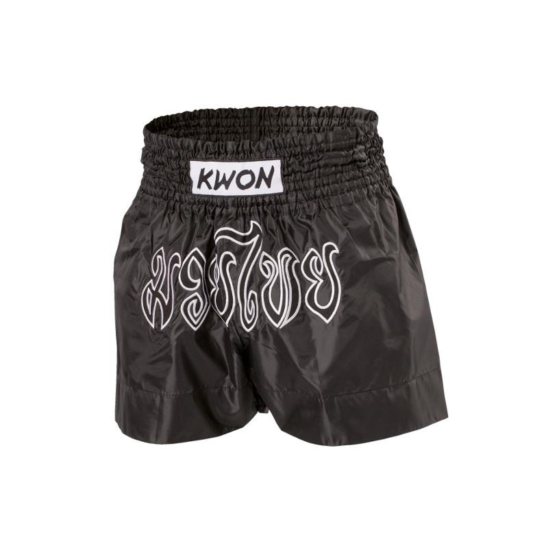 KWON Thai boxing shorts - Sort - KWON Thai boxing shorts - Sort Med Muay Thai Skrift på forsiden af shortsne. Slidstærke og elastiske shorts med bred elastikbånd for perfekt pasform. Materiale: 100% Polyamid Farve: Sort med bogstaver på hvid baggrund Størrelser: S, M, L