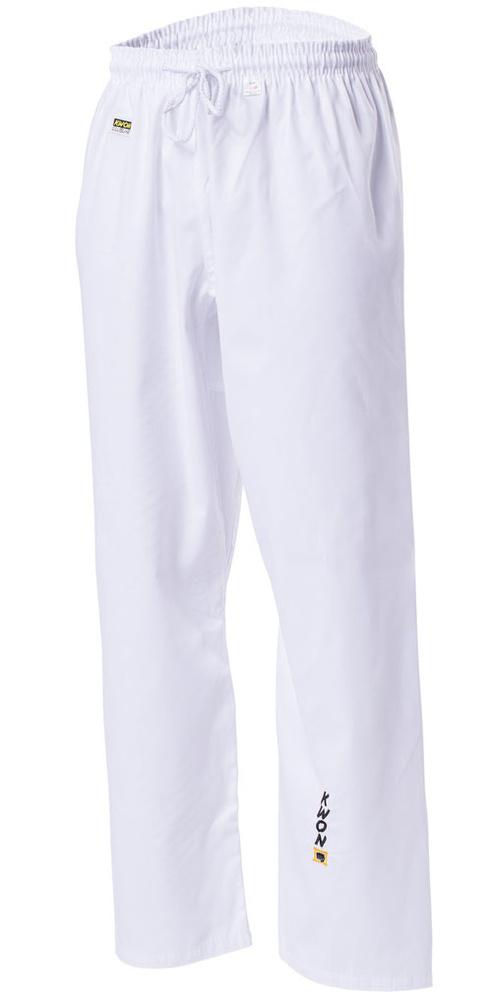 KWON Kampsportsbukser - Hvid - 6.5 oz - Let kampsportsbukser i etmateriale med elastik i taljen og ekstra snor. Ideel til kickboxing, taekwondo og sportskumite i farverne hvid og sort. Materiale: 35% bomuld / 65% polyester Farver: Hvid, Sort