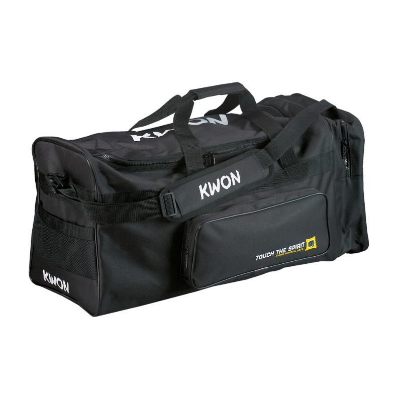 KWON Stor sportstaske - Sportstaske i canvas look, med en lomme på siden, vådt-tøj lomme, justerbar skulderstrop og to håndtag. Størrelse: 65 x 32 x 32 cm