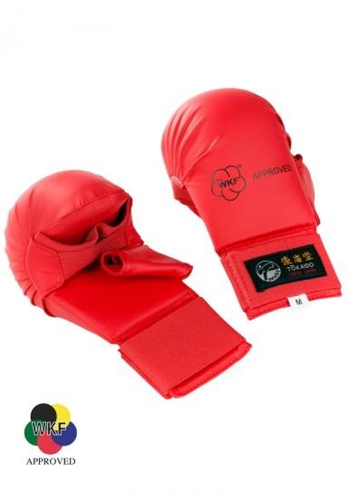 TOKAIDO WKF kamphandsker m/ tommelfinger - WKF godkendtkamp handsker, der er specielt udviklet til Karate kumite. Den syntetiske polyurethan på indersiden giver en fremragende dæmpning. handskerne er meget lette. Indersiden er beklædt med dimensionsstabile kunstlæder, somer yderst behageligeat