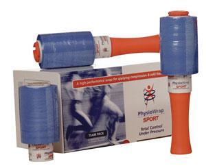 Teampack PhysioWrap - Denne kompressionsbandage udmærker sig ved, at det ikke klæber til hud eller hår, men kun klæber til sig selv. Er fremragende til fastholdelse af engangsis og genbrugsis, og særdeles økonomisk i brug.Af hver rulle kan der lægges ca. 50 kompresbandager. Hå