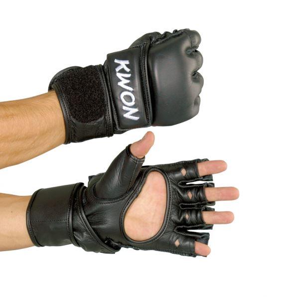 Ultimate bag gloves Handsker - Høj kvalitets Kwon MMA Ultimate handsker med bare fingre. Ultimate MMA HandskerDe høje kvalitets MMA handsker er med åbne fingre. Lavet af holdbart, ægte læder og har en 2 cm tyk polstring på hænder og fingre. Individuelt justerbar velcrolukning ved håndl